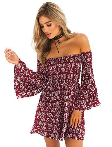 a7d448230dcf Moca Women s Dress Summer Floral Long Sleeve Off Shoulder Casual Mini Dresses  Maroon