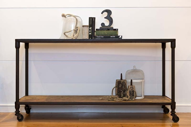 Advantage Property Styling, Console. Industrial, Metal, Wood, Weights, Birdcage, Styling, Books, Rope