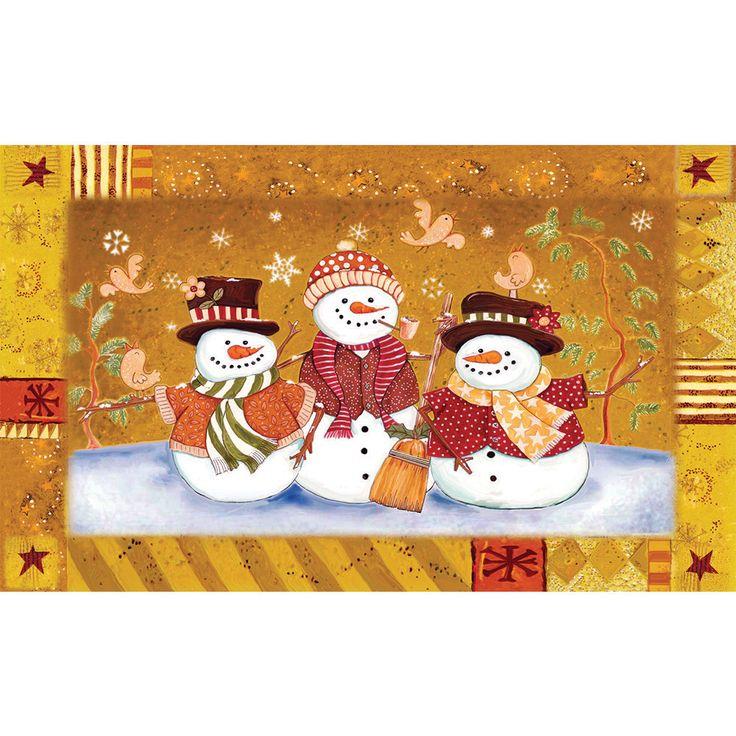 Indoor/ Outdoor Snowman Couple Doormat