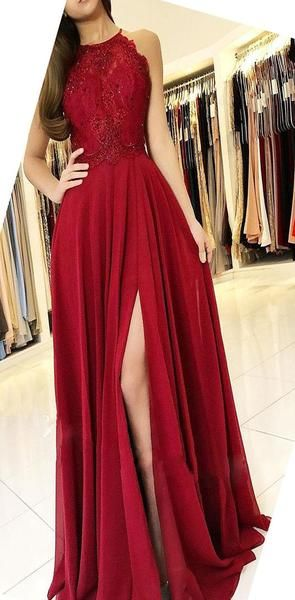 Halter Red Cheap Chiffon Custom Modest Party Long Lace Prom Dresses with Slit , PD1066 Halter Red Cheap Chiffon Custom Modest Party Long Lace Prom Dresses with Slit , PD1066