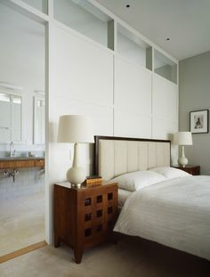 Contemporary Bedroom Divider Wall To Ensuite Opens Up The Space