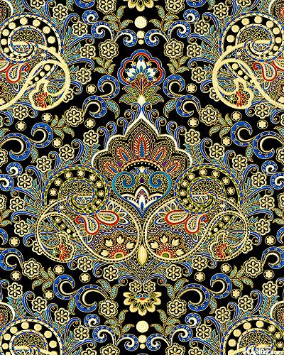 eQuilter Pondicherry - Palace Paisley - Black/Gold