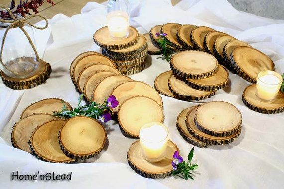 So cute! I'm thinking you could clear coat them, use a personalized stamp, then put a top coat on them... What a cute little favor that also holds use for the wedding. Either a coaster or candle holder.  Love it!