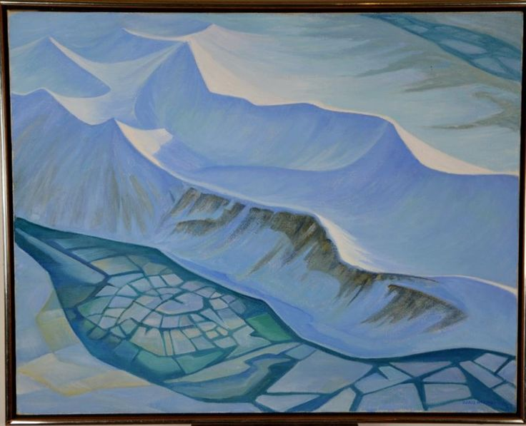 STARRED ICE FROM THE TWIN OTTER, oil painting by Doris MCCARTHY R.C.A. (Canadian, 1910 - 2010).
