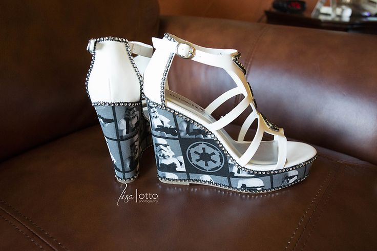 Bride made her Storm Trooper wedge heels!  <3  Danie and Frank | Safety Harbor Spa Wedding with a Star Wars theme