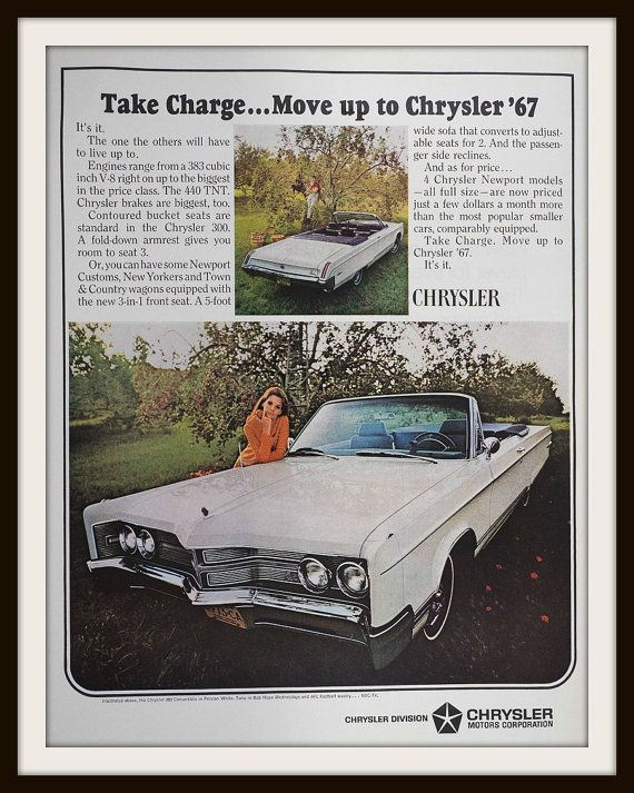 1966 Chrysler 300 Convertible Advertisement. by vintageadsnprints