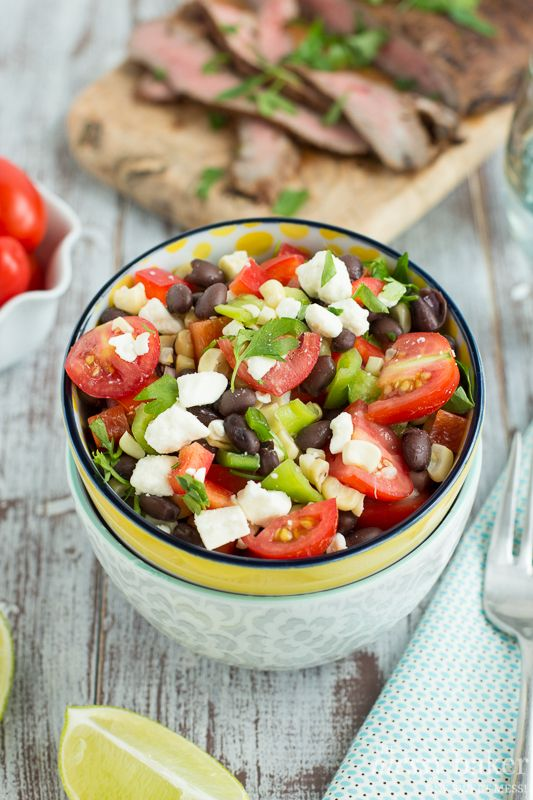 Grilled Flank Steak with Corn & Black Bean Salad - The Messy Baker ...