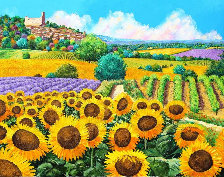"""""""Vineyard and sunflowers in Provence"""" 73x92 cm Jean-Marc JANIACZYK French landscape painter"""