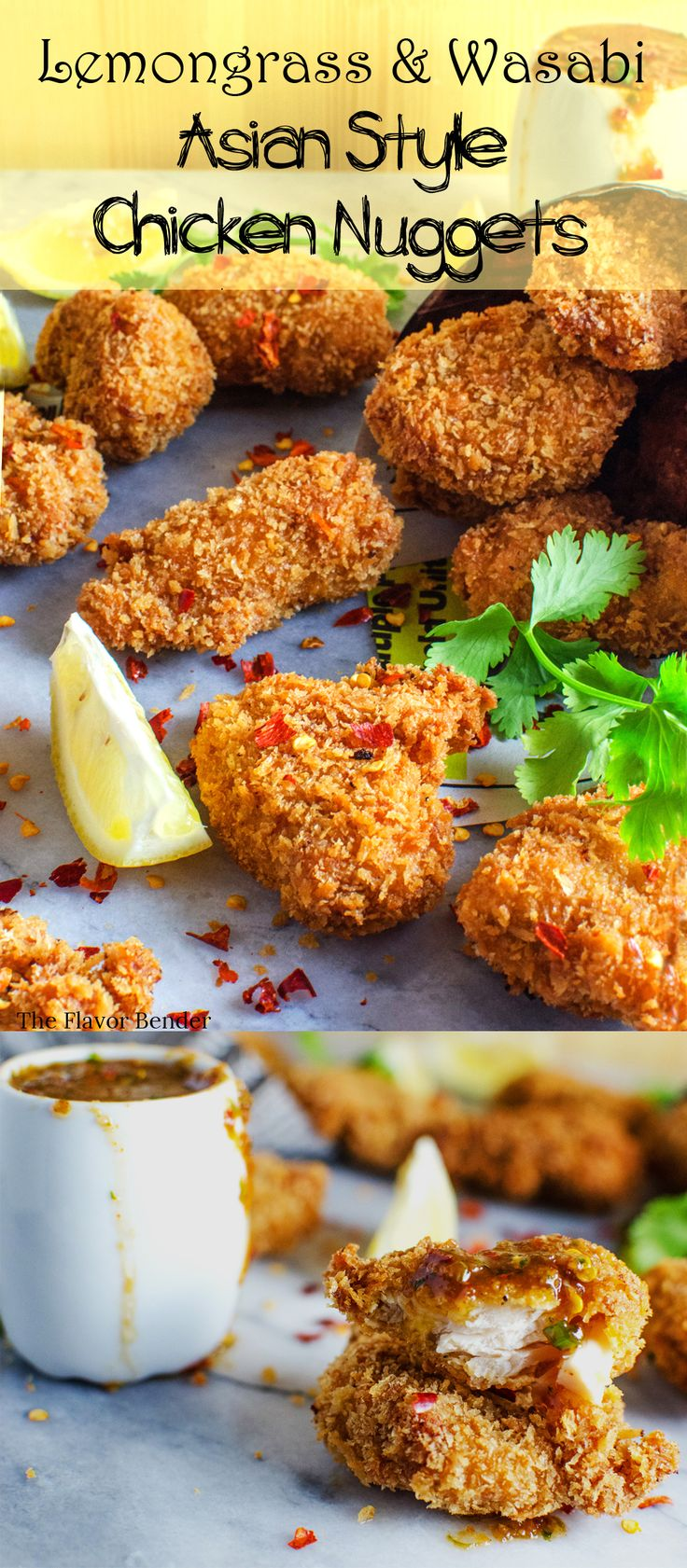 Panko crumbed Lemongrass and Wasabi Chicken Nuggets from scratch! These Asian-style Chicken nuggets are crunchy, flavor packed AND freezer friendly! Infinitely better than store bought or fast food!