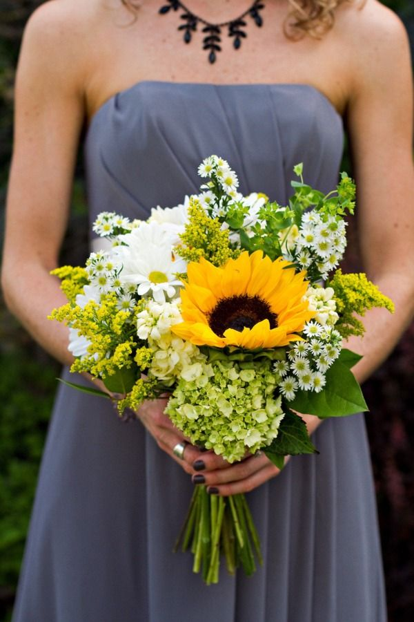 Sunflower and wildflower bouquet: Sunflowers Bouquets, Photography Wedding, Daisies, Bridesmaid Dresses Colors, The Dresses, Bridesmaid Bouquets, Grey Dresses, Hydrangeas, Gray Dresses