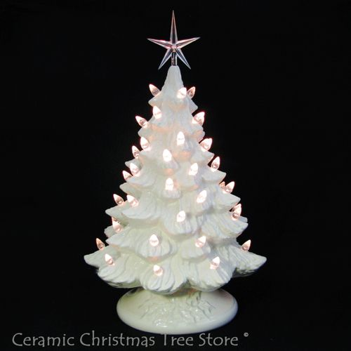 Antique White Ceramic Christmas Tree 16 Inch Tall Clear