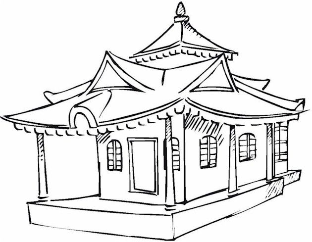 Asian Coloring Page Oriental Pinterest Coloring