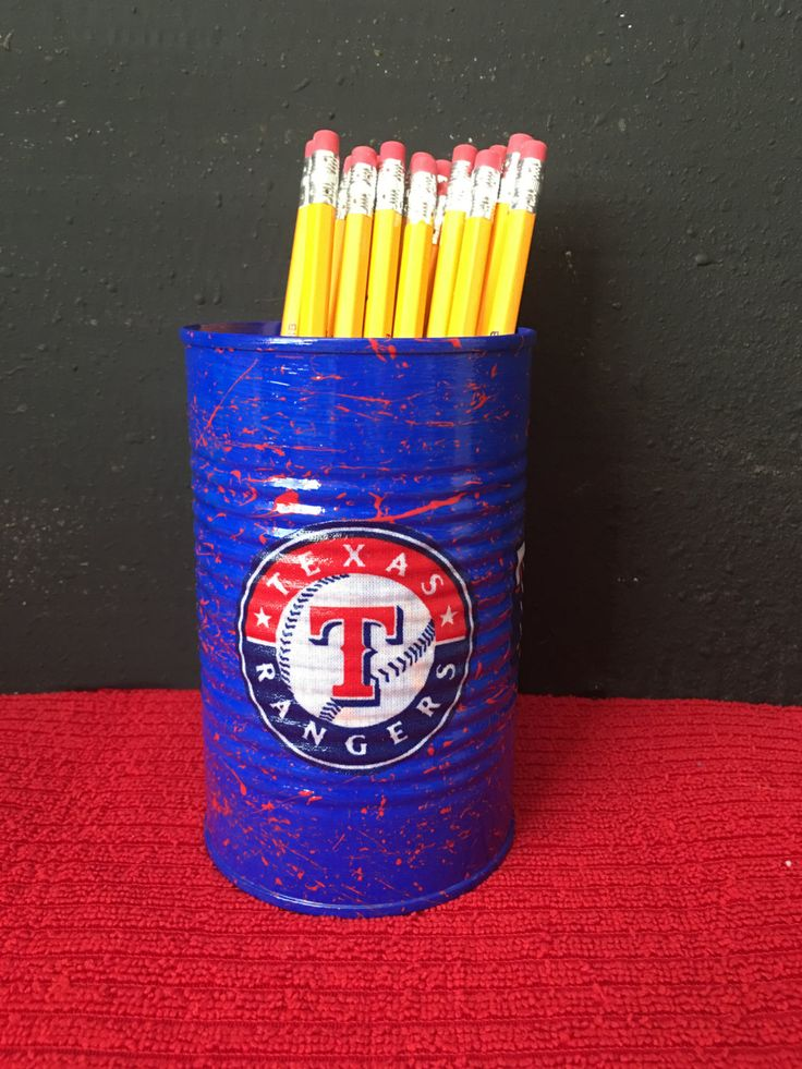 TEXAS RANGERS MLB Can Holder/Pencils/Pens/Brushes/Markers/Flowers/Candy/Money/Gift Holder by KreationsGalore on Etsy