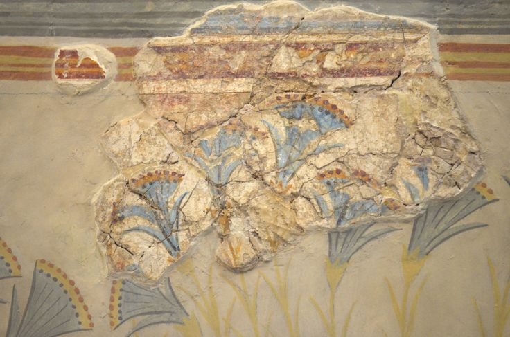 "Archaeological Museum of Heraklion: Panel with riverside landscape with monkeys and aquatic plants from a large landscape fresco that once decorated a spacious room of a house west of the palace of Knossos, named the ""House of the Frescoes"" after the sequence of three surviving panels....."