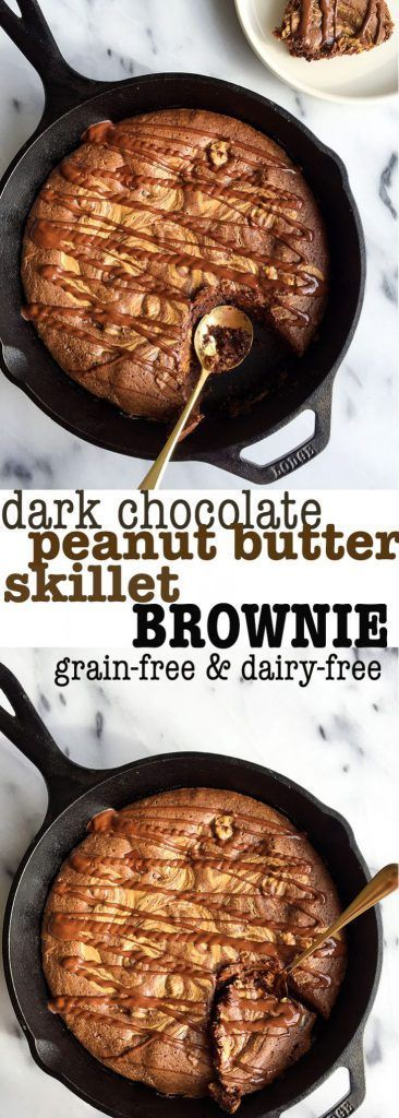 Dark Chocolate Peanut Butter Skillet Brownie. A deliciously healthy brownie made with almond flour. Dairy-free and grain-free made with easy ingredients. The perfect healthy peanut butter brownie!