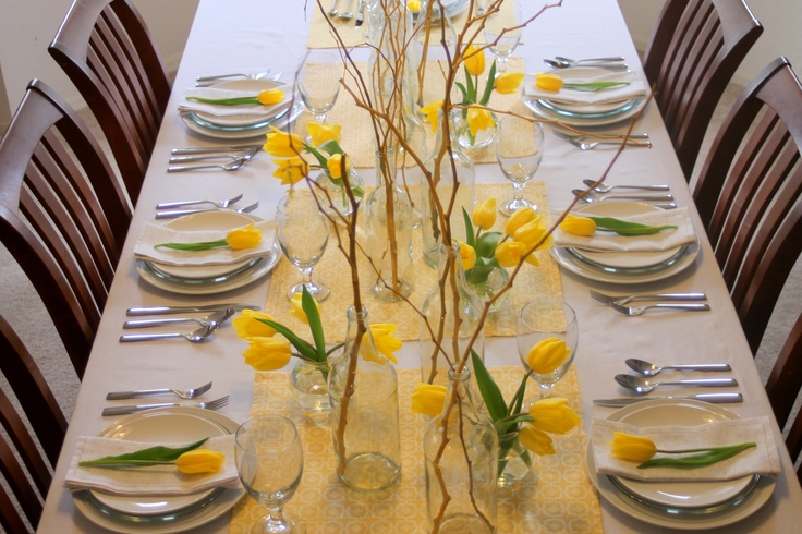 My Thanksgiving table...I love tulips!Yellow Flowers, Decor Ideas, Dreams, Check, Inspiration Ideas, Assembly Yellow, Dinner Parties, Better Places, Parties Ideas