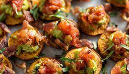 Sweet Potato Bites with Guacamole and Bacon