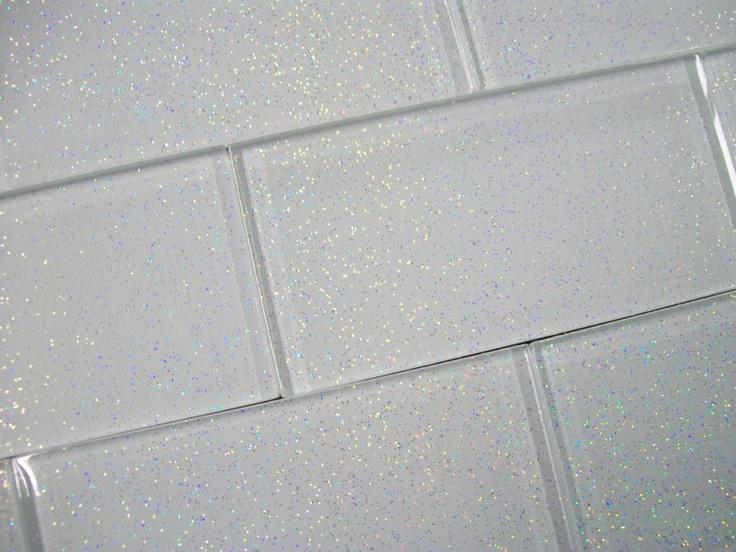 Glass Brick Wall Tiles Infinity Glitter White 8mm
