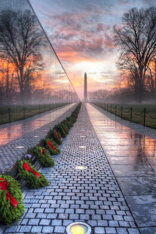 vietnam veterans memorial, washington dc, wreaths across america, wreaths, sunrise, washington monument, trees, reflection, puddles, veterans day