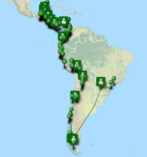 Notre itinéraire de voyage en Amérique latine sur une carte interactive