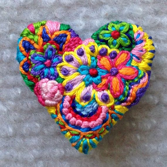 Freeform embroidery heart brooch Brooch #69