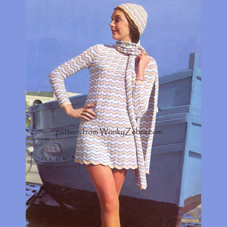 WZ053 a fab 60's long sleeved mini dress with matching scarf and beanie or Juliet cap. Knitted in chevrons in a regular colour sequence, to a ripple or chevron stitch pattern.