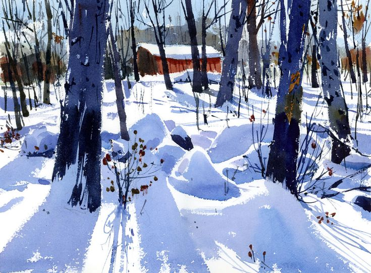 On very cold and sunny days in the winter (if you factor in the wind today it's -29°C in Montreal!) the shadows on the snow are brilliant and sharp. I can't think of one tube of blue pa…