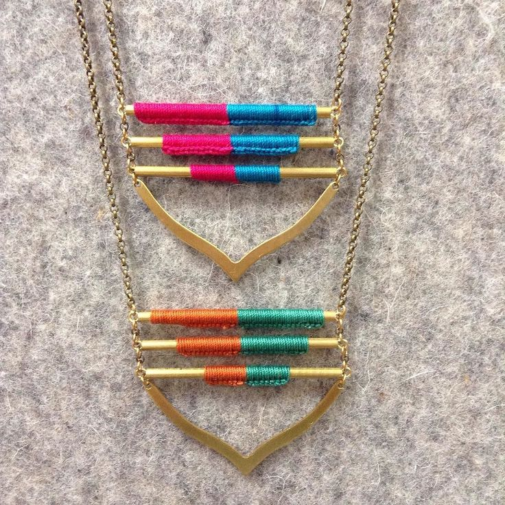 Beautiful hand dyed thread in contrast to sturdy metals makes @moss_handmade jewelry incredibly special! #handmade