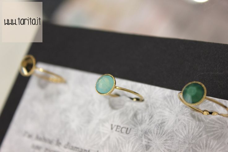 "Tarita, ""5 Octobre"". RING FLAT: tiny ring made of brass gilded with 24 carats gold and crystals."