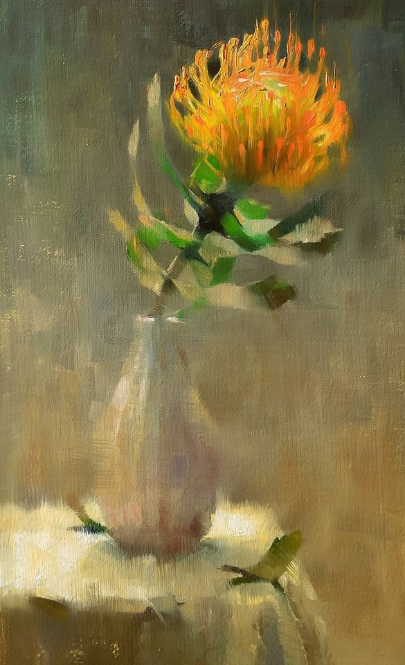"Alex Kelly, Pincushion Protea. Oil on linen, 7x13""."