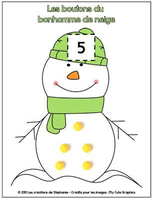 Les boutons du bonhomme de neige, numération et pam