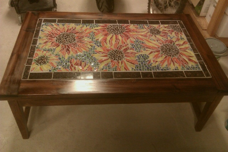 Mosaic coffee table mosaic by gabrielle helene for Mosaic coffee table designs
