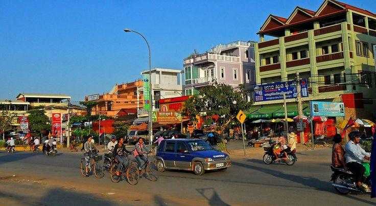A main road in Siem Reap, Cambodia.