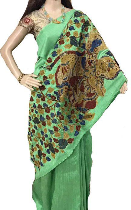 Green Kalamkari Applique Work Pure Silk Saree