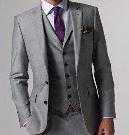 (MTM) Light Gray Notch Lapel Three Piece Suit
