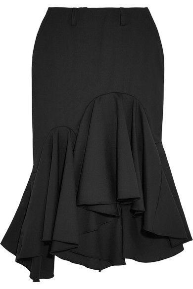 Facetasm - Ruffled Wool-crepe Midi Skirt - Black - 3