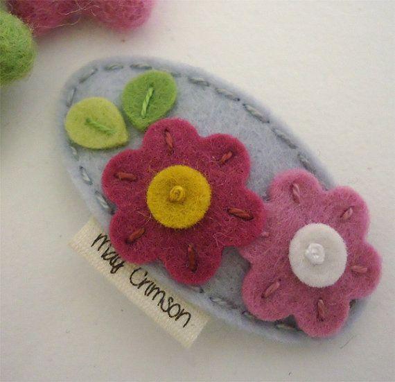 NO SLIP Wool felt hair clip Flora silver grey by MayCrimson, $7.00