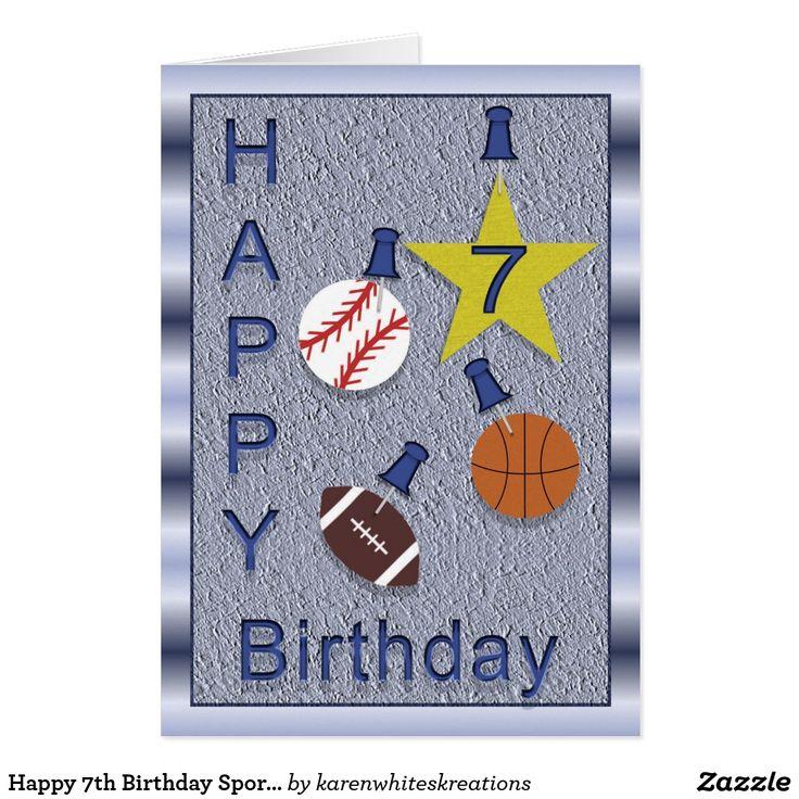 happy 7th birthday sports theme card  zazzle