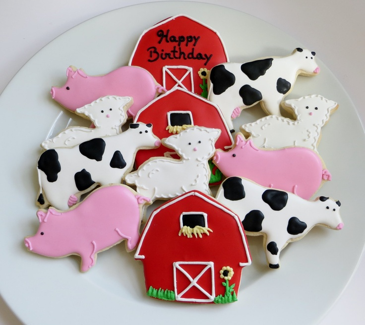 Farm decorated cookie favors: barns, cows, pigs and lambs, personalized, 1 Dozen. $39.75, via Etsy.