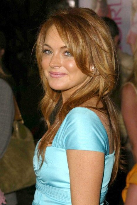 lindsay lohan red wavy hair