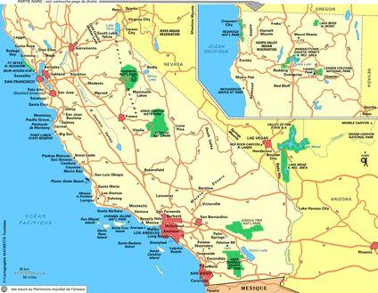 Plan Californie : cliquez sur la carte Californie pour lagrandir
