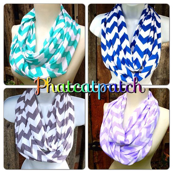Chevron Infinity Scarves, Wide And Long, Blue, Gray, Aqua, Cotton/rayon Blend… - Chevron Infinity Scarves Wide And Long Blue Gray By Phatcatpatch, $14.49