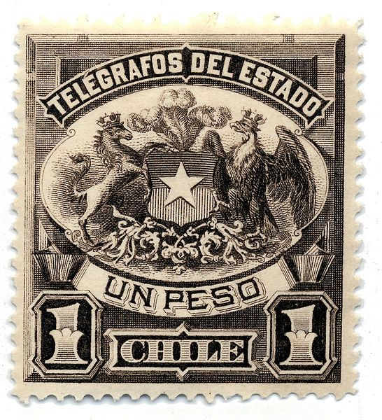 1883 1p telegraph stamp of Chile