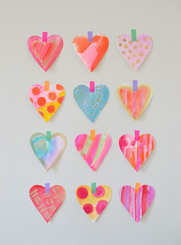 This is the simple and quick way we make watercolor hearts in our house that have a clean edge.