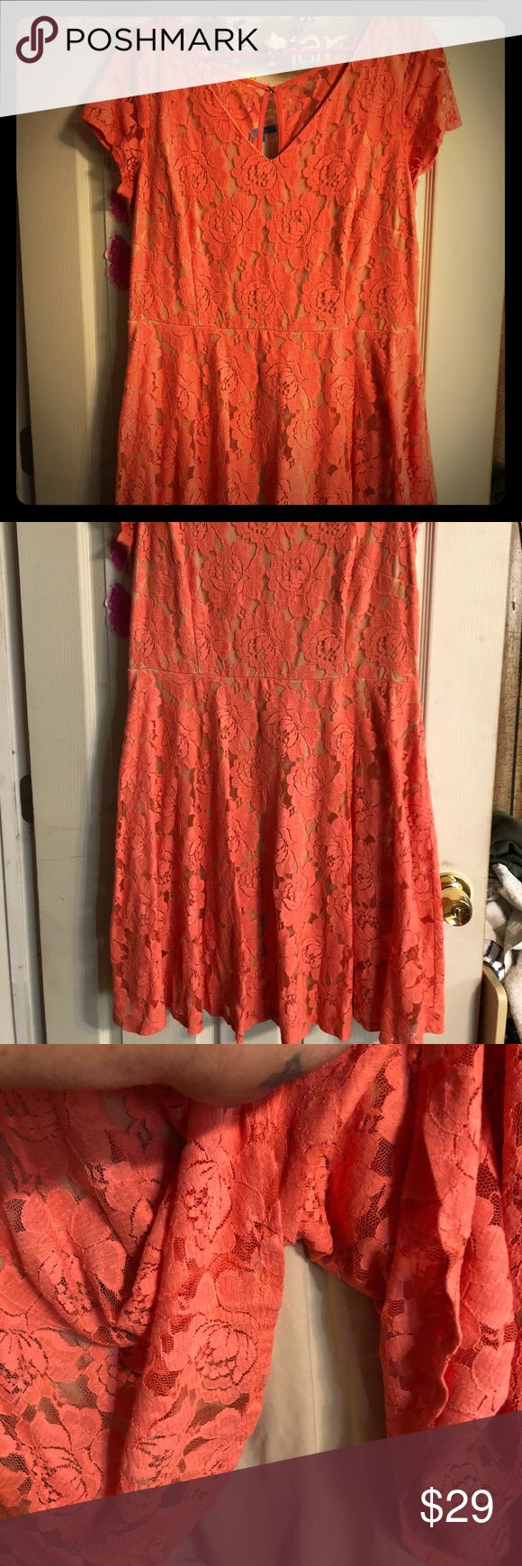NWT GORGEOUS CORAL/NUDE FASHION LACE DRESS NEW LACE CORAL PEACH LACE DRESS beige nude lining NO PILING PRACTICALLY NEW NEVER WORE NO TAGS. SAYS 18 but it's not it will fit someone that wears 14/16 Plus J. Taylor Dresses Midi