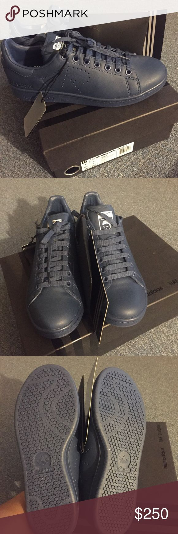 Raf Simons x Adidas Stan Smith Sneakers (Marine) 100 % authentic includes box, extra laces and card. size 7.5 mens which is 9.5 womens. in the color blue/blue marine retails $455 Raf Simons Shoes Sneakers