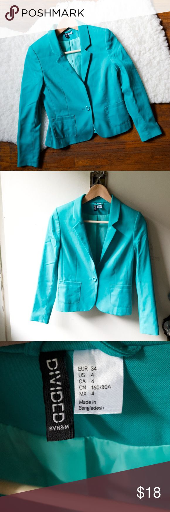 H&M size 4 turquoise blazer Excellent condition  Perfect for the office or for a casual look with jeans. No trades. Please look at pictures for details and measurements. divided by H&M Jackets & Coats Blazers