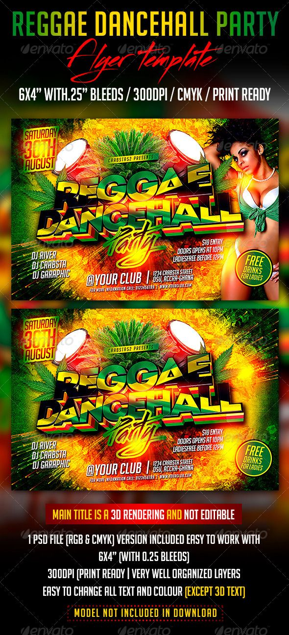 Best Design Images On   Party Flyer Reggae And Get A