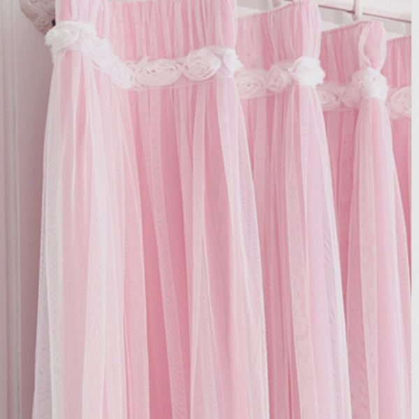 Luxury Pink Ruffled Ruched Rose Lace Blackout Tulle Sheer Romantic... ❤ liked on Polyvore featuring home, home decor, window treatments, curtains, sheer outdoor curtains, double layer curtains, sheer curtains, sheer lace curtains and outside curtains