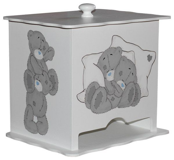 """A must have for the baby room! This wooden nappy dispenser has been designed for disposable nappies, and can fit from newborn size (fits approx 30 nappies) to 2 years (fits approx 15 nappies). The dispenser can either be wall mounted or simply placed on top of a shelf/table. The lid is fully removable. This nappy dispenser is painted in plain white with the adorable Tatty Teddy on the front and both sides. Perfect for a """"neutral"""" nursery suitable for boys and girls. Design and colours might…"""